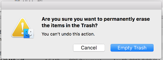 screenshot of an empty trash can message