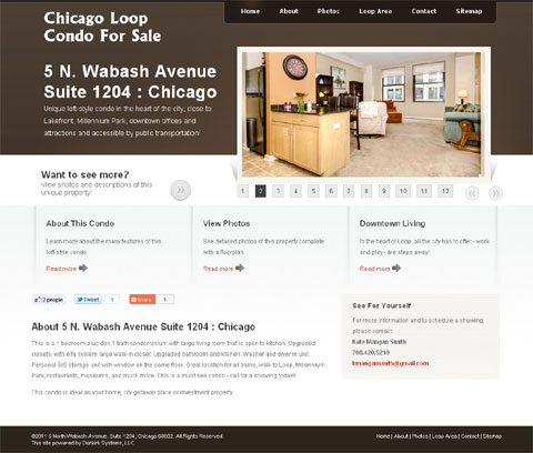 screenshot of Web site for 5 North Wabash Avenue Suite 1204 Chicago