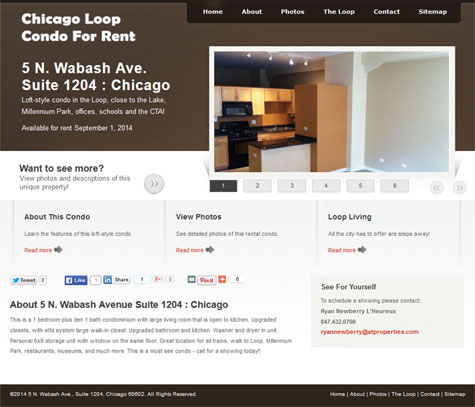 photo of 5 North Wabash Avenue Suite 1204 Chicago Loop Loft Condo For Rent Web site