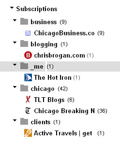 Google Reader blog list screen shot