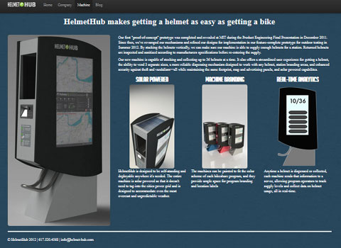 screenshot of HelmetHub Web site