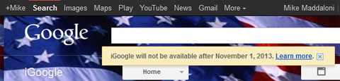 screen of iGoogle shutdown notice