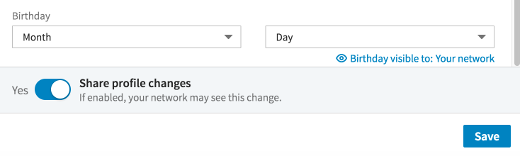 screenshot of blank LinkedIn birthday settings fields