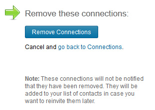 screenshot of LinkedIn remove connections screen