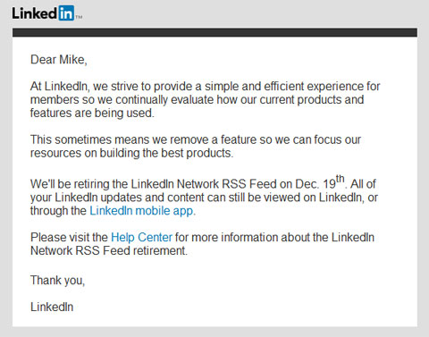screenshot of LinkedIn Network RSS feed email