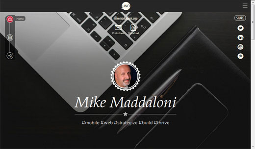 screenshot of Mike Maddaloni's UNO Social Site