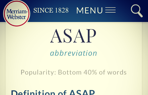 screenshot of ASAP definition page heading