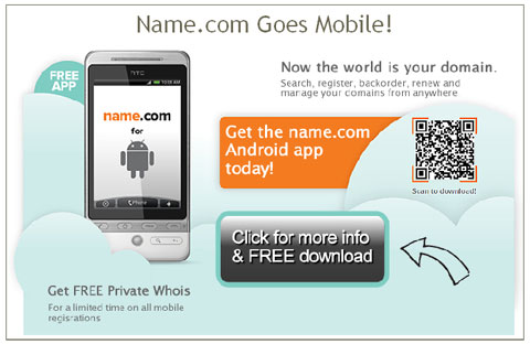 screen of name.com Android app email