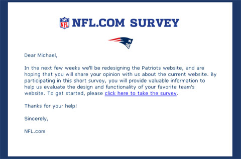screenshot of NFL.com email
