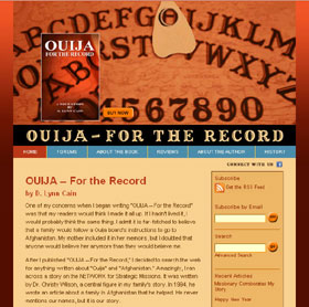 home page of OUIJA – For The Record