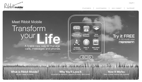 screenshot of Ribbit Mobile home page in grayscale