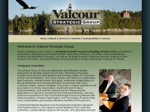 screen of Valcour Strategic Group, LLC Web site